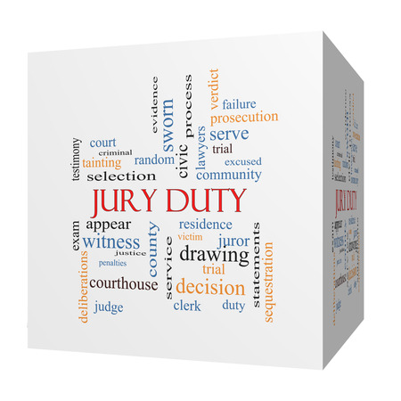 jury: Jury Duty 3D cube Word Cloud Concept with great terms such as appear, serve, juror and more.