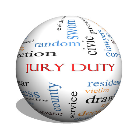Jury Duty 3D sphere Word Cloud Concept with great terms such as appear, serve, juror and more.