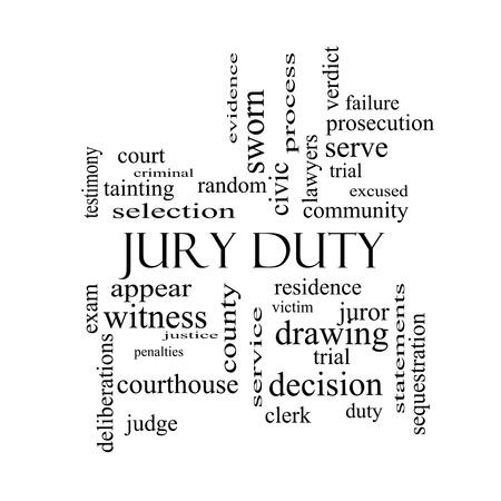 jurado: Jury Duty Palabra Nube Concepto en blanco con grandes términos como aparecen, servir, miembro del jurado y más y negro.