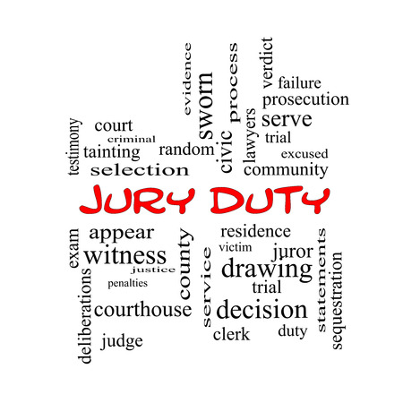 juror: Jury Duty Word Cloud Concept in red caps with great terms such as appear, serve, juror and more.