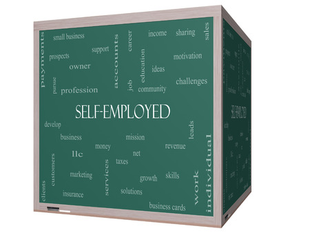 selfemployed: Self-Employed Word Cloud Concept on a 3D Blackboard with great terms such as business, money, owner and more.