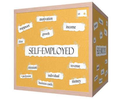 Self-Employed 3D cube Corkboard Word Concept with great terms such as income, mission, revenue and more.