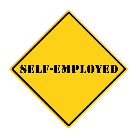 diamond shaped: A yellow and black diamond shaped road sign with the words SELF-EMPLOYED AHEAD making a great concept.