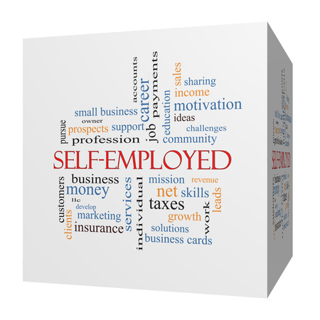 selfemployed: Self-Employed 3D cube Word Cloud Concept with great terms such as business, money, owner and more.