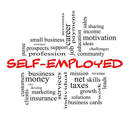 self development: Self-Employed Word Cloud Concept in red caps with great terms such as business, money, owner and more. Stock Photo