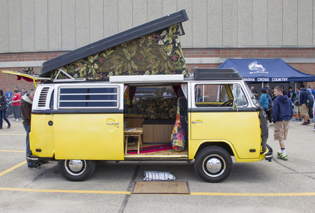 vw: MENASHA, WI - MAY 16:  Side view of VW Westfalia Camper Bus at 7th Annual Car Show May 16, 2014 in Menasha, Wisconsin. Editorial