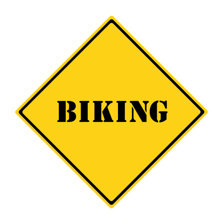 diamond shaped: A yellow and black diamond shaped road sign with the word BIKING making a great concept.