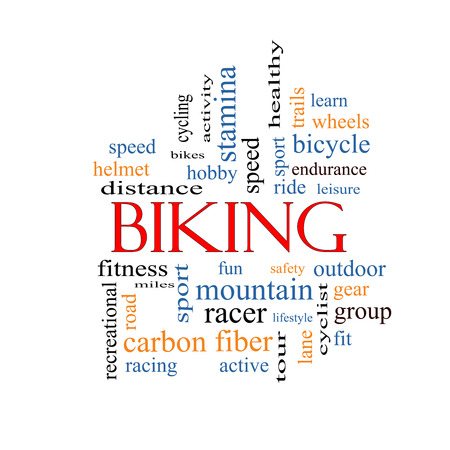 Biking Word Cloud Concept with great terms such as sport, fitness, ride and more. photo