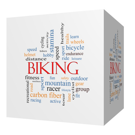 Biking 3D cube Word Cloud Concept with great terms such as sport, fitness, ride and more. photo