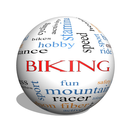 Biking 3D sphere Word Cloud Concept with great terms such as sport, fitness, ride and more. photo