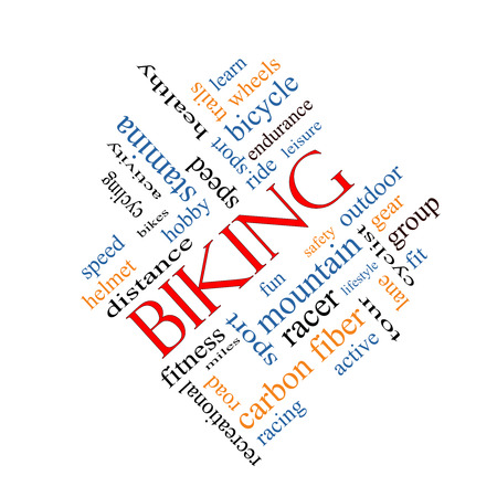 Biking Word Cloud Concept angled with great terms such as sport, fitness, ride and more. photo