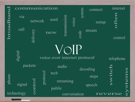 decoding: VOIP Word Cloud Concept on a Blackboard with great terms such as voice, internet, protocol and more.