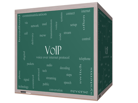 VOIP Word Cloud Concept on a 3D cube Blackboard with great terms such as voice, internet, protocol and more. photo