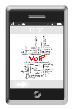 decoding: VOIP Word Cloud Concept on a Touchscreen Phone with great terms such as voice, internet, streaming and more. Stock Photo