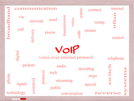 VOIP Word Cloud Concept on a Whiteboard with great terms such as voice, internet, protocol and more. photo
