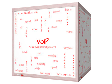 VOIP Word Cloud Concept on a 3D cube Whiteboard with great terms such as voice, internet, protocol and more. photo