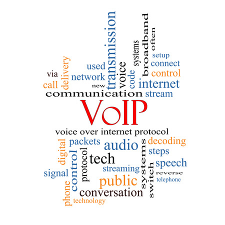 VOIP Word Cloud Concept with great terms such as voice, internet, protocol and more. photo
