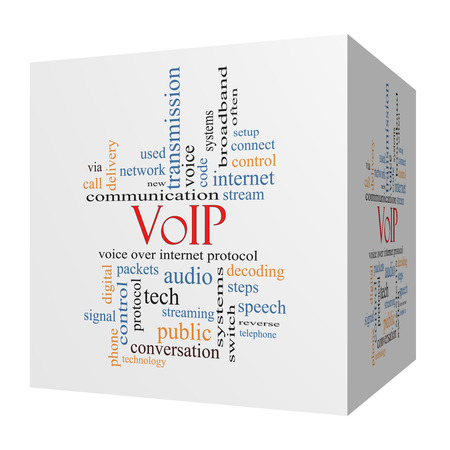 decoding: VOIP 3D cube Word Cloud Concept with great terms such as voice, internet, protocol and more. Stock Photo