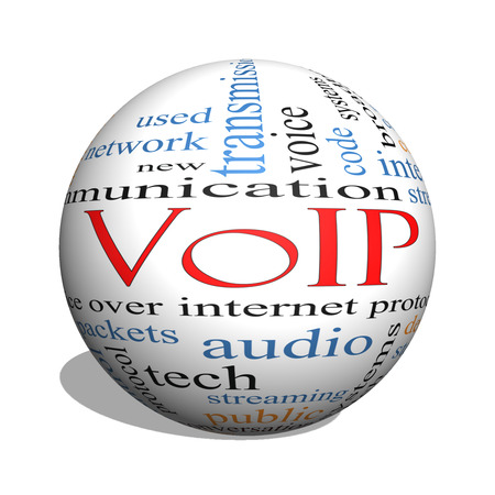VOIP 3D sphere Word Cloud Concept with great terms such as voice, internet, protocol and more. photo