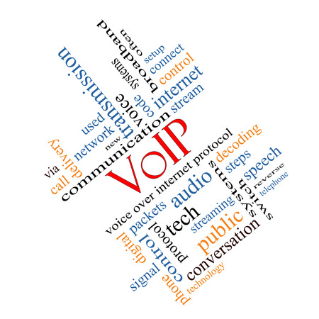 VOIP Word Cloud Concept angled with great terms such as voice, internet, protocol and more. photo