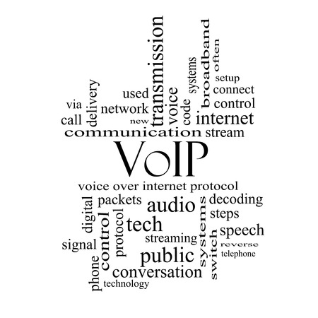 decoding: VOIP Word Cloud Concept in black and white with great terms such as voice, internet, protocol and more.
