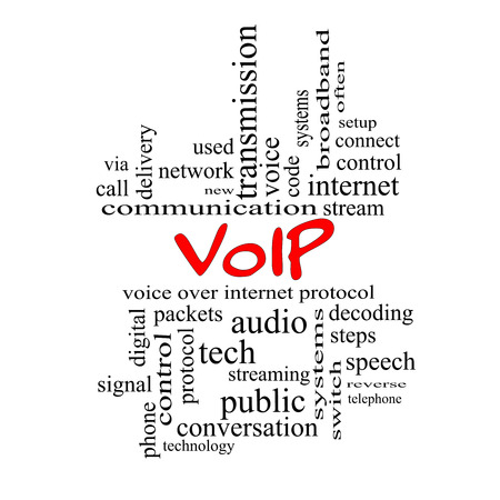 VOIP Word Cloud Concept in red caps with great terms such as voice, internet, protocol and more. photo