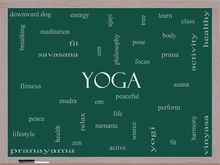 Yoga Word Cloud Concept on a Blackboard with great terms such as fitness, peace, pose and more. photo