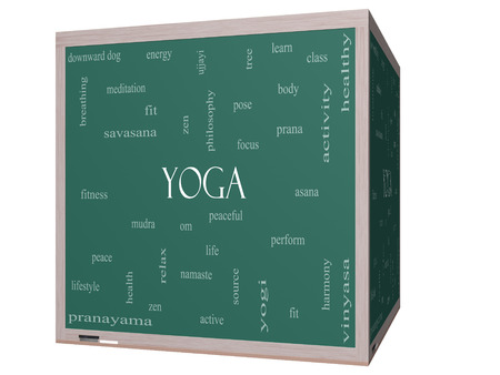 Yoga Word Cloud Concept on a 3D cube Blackboard with great terms such as fitness, peace, pose and more. Stock Photo