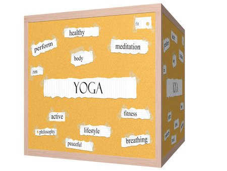 Yoga 3D cube Corkboard Word Concept with great terms such as body, zen, active and more. photo