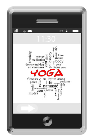 Yoga Word Cloud Concept on a Touchscreen Phone with great terms such as fitness, pose, zen and more. Stock Photo