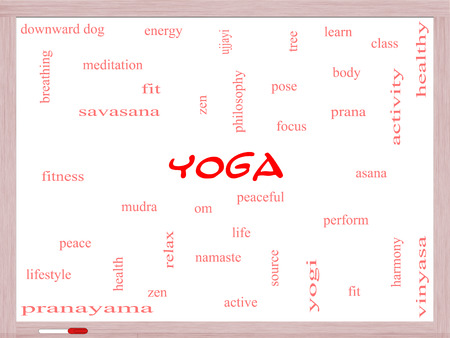 Yoga Word Cloud Concept on a Whiteboard with great terms such as fitness, peace, pose and more.
