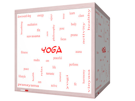 Yoga Word Cloud Concept on a 3D cube Whiteboard with great terms such as fitness, peace, pose and more. Stock Photo