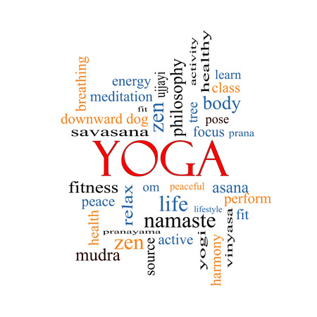 prana: Yoga Word Cloud Concept with great terms such as fitness, peace, pose and more. Stock Photo