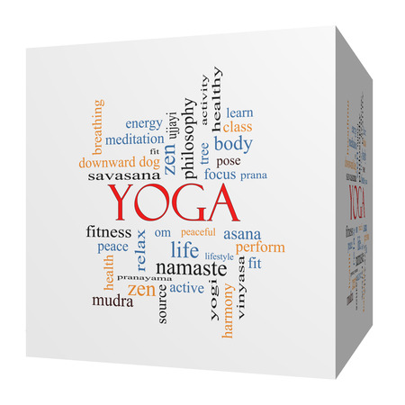 Yoga 3D cube Word Cloud Concept with great terms such as fitness, peace, pose and more. Stock Photo