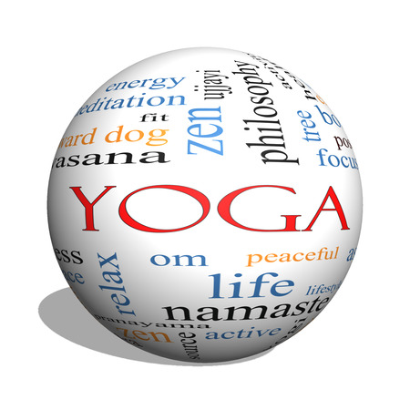 Yoga 3D sphere Word Cloud Concept with great terms such as fitness, peace, pose and more. Stock Photo