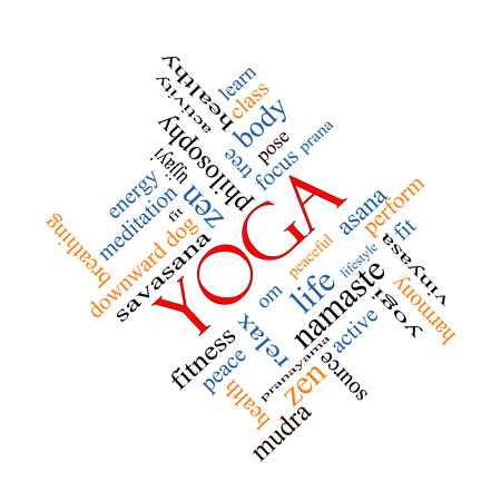 Yoga Word Cloud Concept angled with great terms such as fitness, peace, pose and more. photo