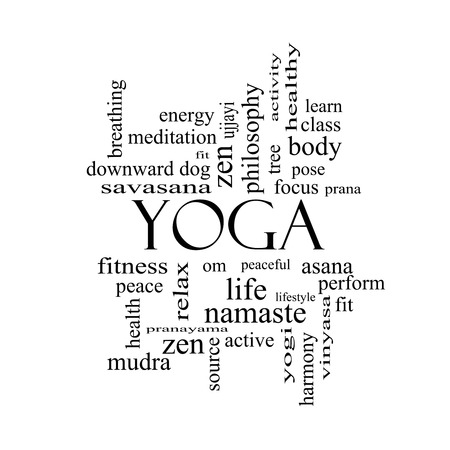 Yoga Word Cloud Concept in black and white with great terms such as fitness, peace, pose and more.