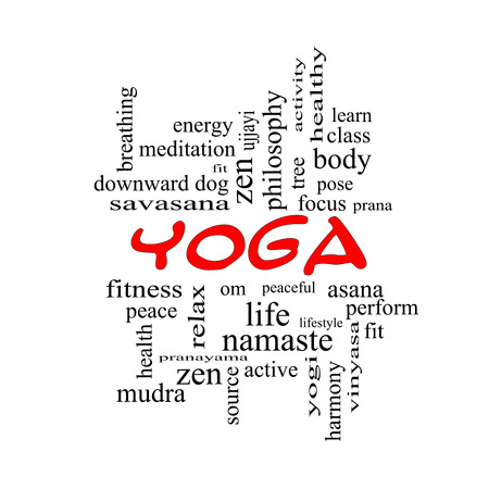 Yoga Word Cloud Concept in red caps with great terms such as fitness, peace, pose and more. photo