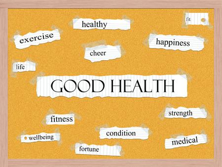 buena salud: Bueno Corcho Salud Palabra Concepto con grandes términos como sano, vida, ejercicio y mucho más.