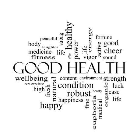 검은 색과 같은 웰빙, 피트니스, 몸과 더 훌륭한 조건에 흰색의 건강을 단어 구름 개념. 스톡 콘텐츠