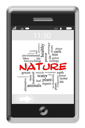 Nature Word Cloud Concept on a Touchscreen Phone with great terms such as eco, organice, natural and more.