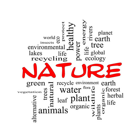 Nature Word Cloud Concept in red caps with great terms such as recycle, green, natural and more.