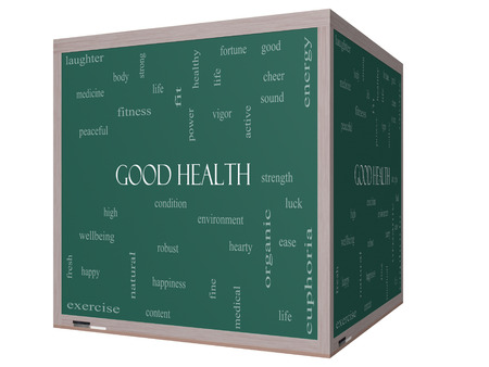 Good Health Word Cloud Concept on a 3D cube Blackboard with great terms such as wellbeing, fitness, body and more.