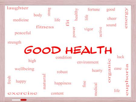 이러한 웰빙, 피트니스, 몸 등과 같은 좋은 조건에 화이트 보드에 좋은 건강 단어 구름 개념입니다. 스톡 콘텐츠