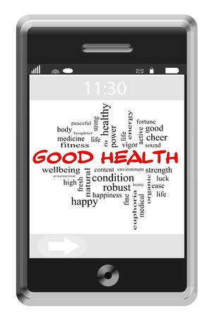 buena salud: Buena Salud Palabra Nube Concepto en una pantalla táctil de teléfono con grandes términos como salud, condición física, ejercicio y mucho más. Foto de archivo