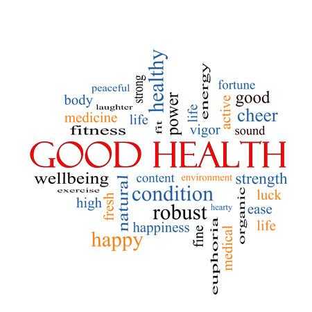 buena salud: Buena Salud Palabra Nube Concepto con los términos tales como el bienestar, fitness, musculación y más.