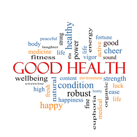 word: Good Health Word Cloud Concept with great terms such as wellbeing, fitness, body and more. Stock Photo