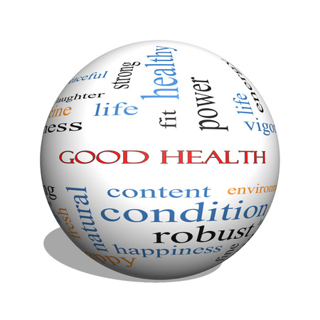 Good Health 3D sphere Word Cloud Concept with great terms such as wellbeing, fitness, body and more. 스톡 콘텐츠