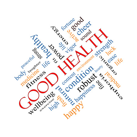 Good Health Word Cloud Concept angled with great terms such as wellbeing, fitness, body and more.