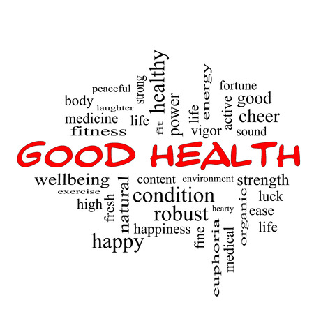 Good Health Word Cloud Concept in red caps with great terms such as wellbeing, fitness, body and more. 스톡 콘텐츠